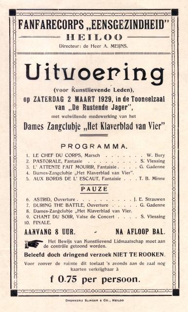 Concertprogramma Eensgezindheid 1929