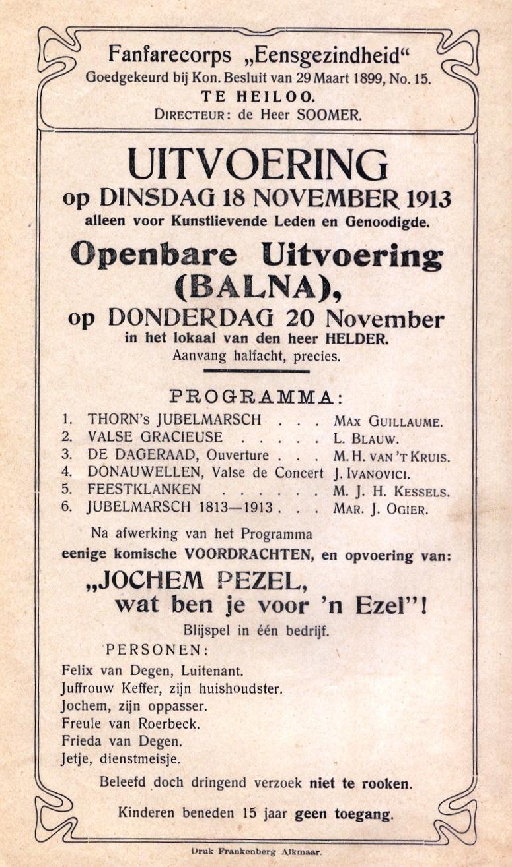 Concertprogramma Eensgezindheid 1913